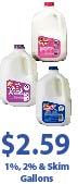Shows gallons of Prairie Farms Milk